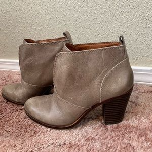 Lucky Brand ankle boots, 2 inch block heel, brown